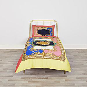 Parure de lit ornée rose vif pour lit simple