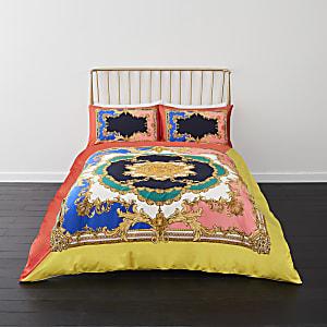 Parure de lit double ornée rose vif