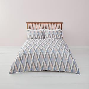 Parure de lit super king size à imprimé géométrique bleue