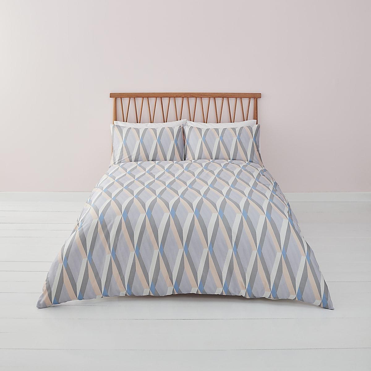 Blauwe superkingsize dekbedset met geometrische print