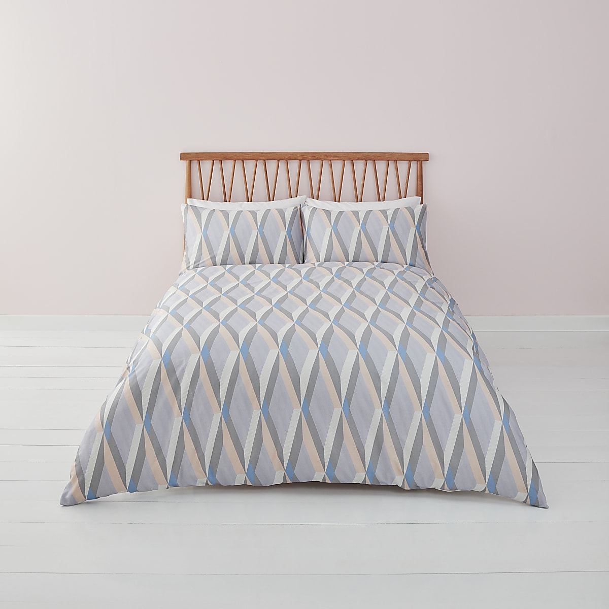 Blue diamond geo print king duvet bed set