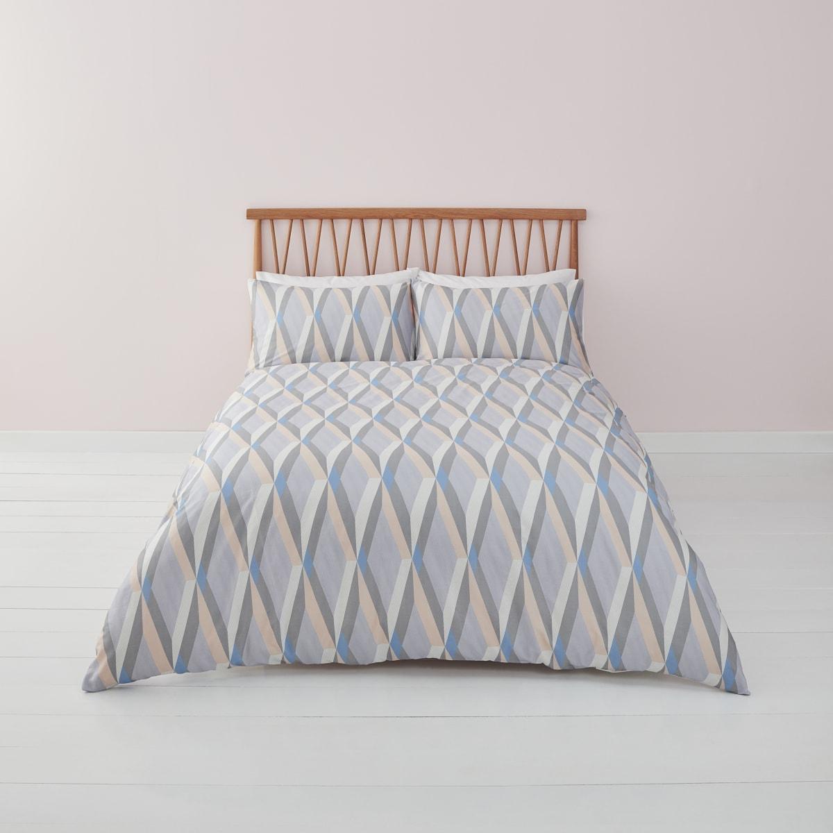 Parure de lit double à imprimé losanges bleue