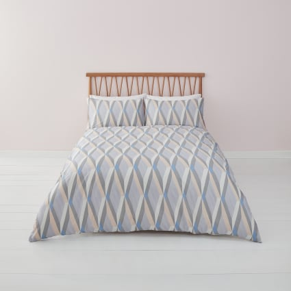 Blue diamond geo print double duvet bed set