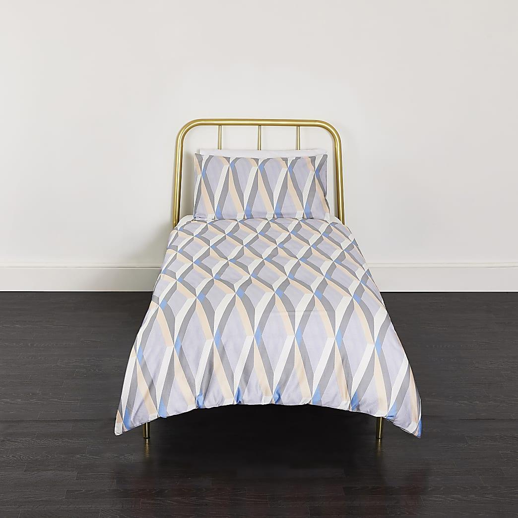 Parure de lit simple à imprimé géométrique bleue