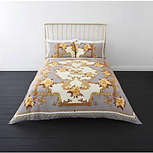 Parure de lit king motif fleurs baroque grise