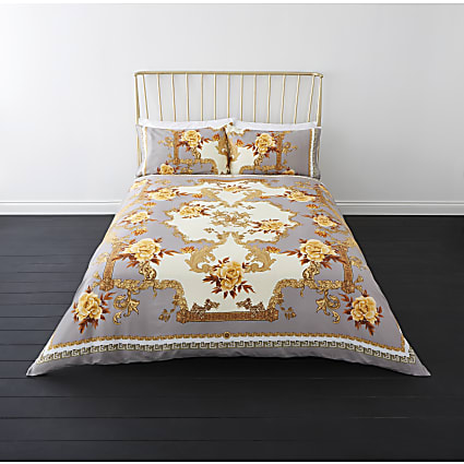 Grey floral baroque king duvet bed set