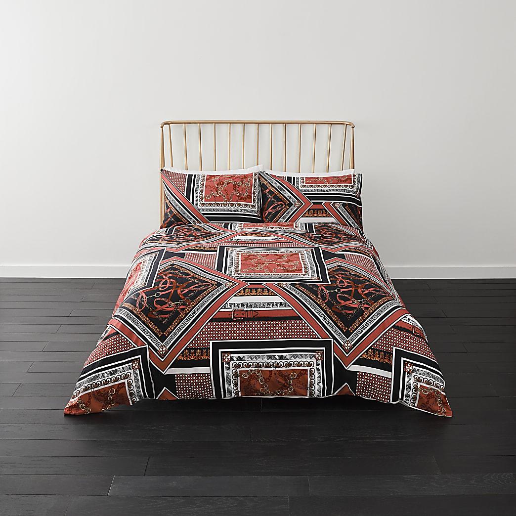 Red spliced print king duvet bed set