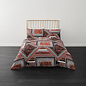 Parure pour lit double à imprimé mélangé rouge