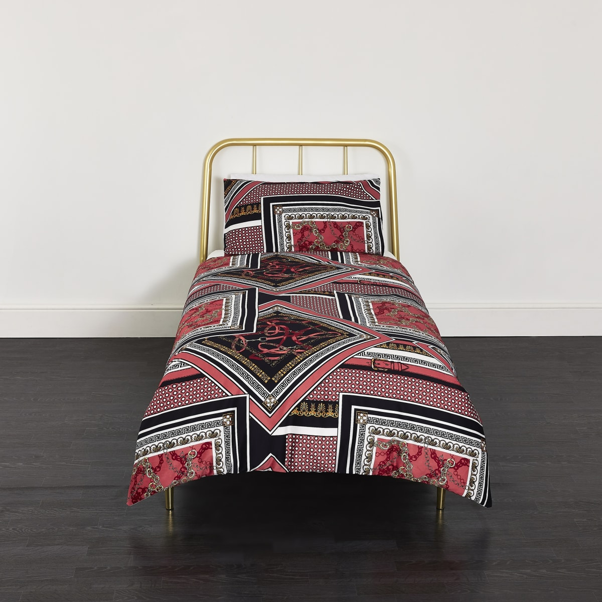 Red spliced print single duvet bed set