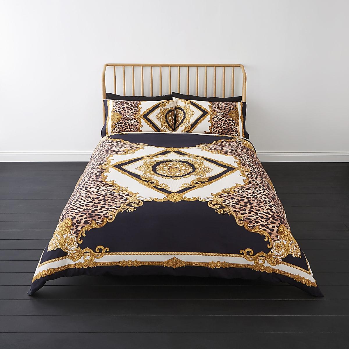 Marineblauwe superkingsize dekbedset met luipaard- en barokprint