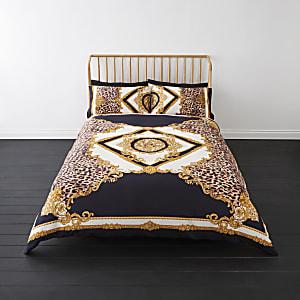 Parure de lit king motif baroque léopard bleu marine