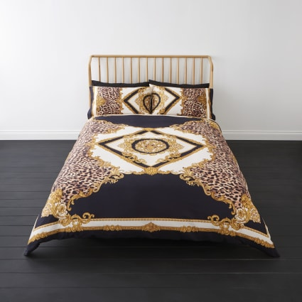 Navy leopard baroque king duvet bed set