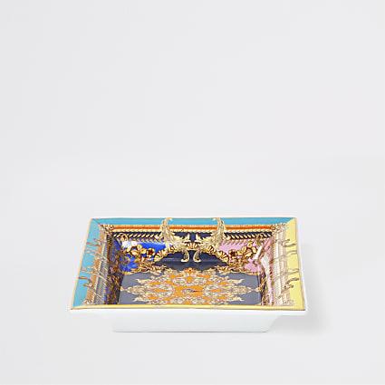 Red ornate print square trinket tray