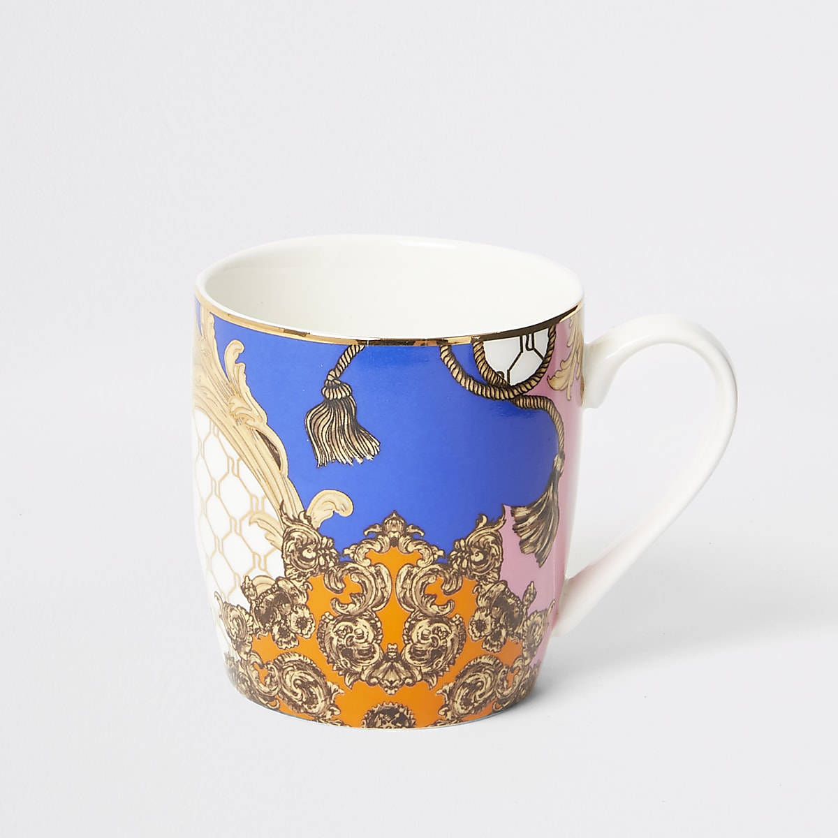 Orange RI baroque china mug