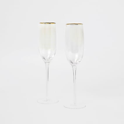 Iridescent pink prosecco flutes 2 pack