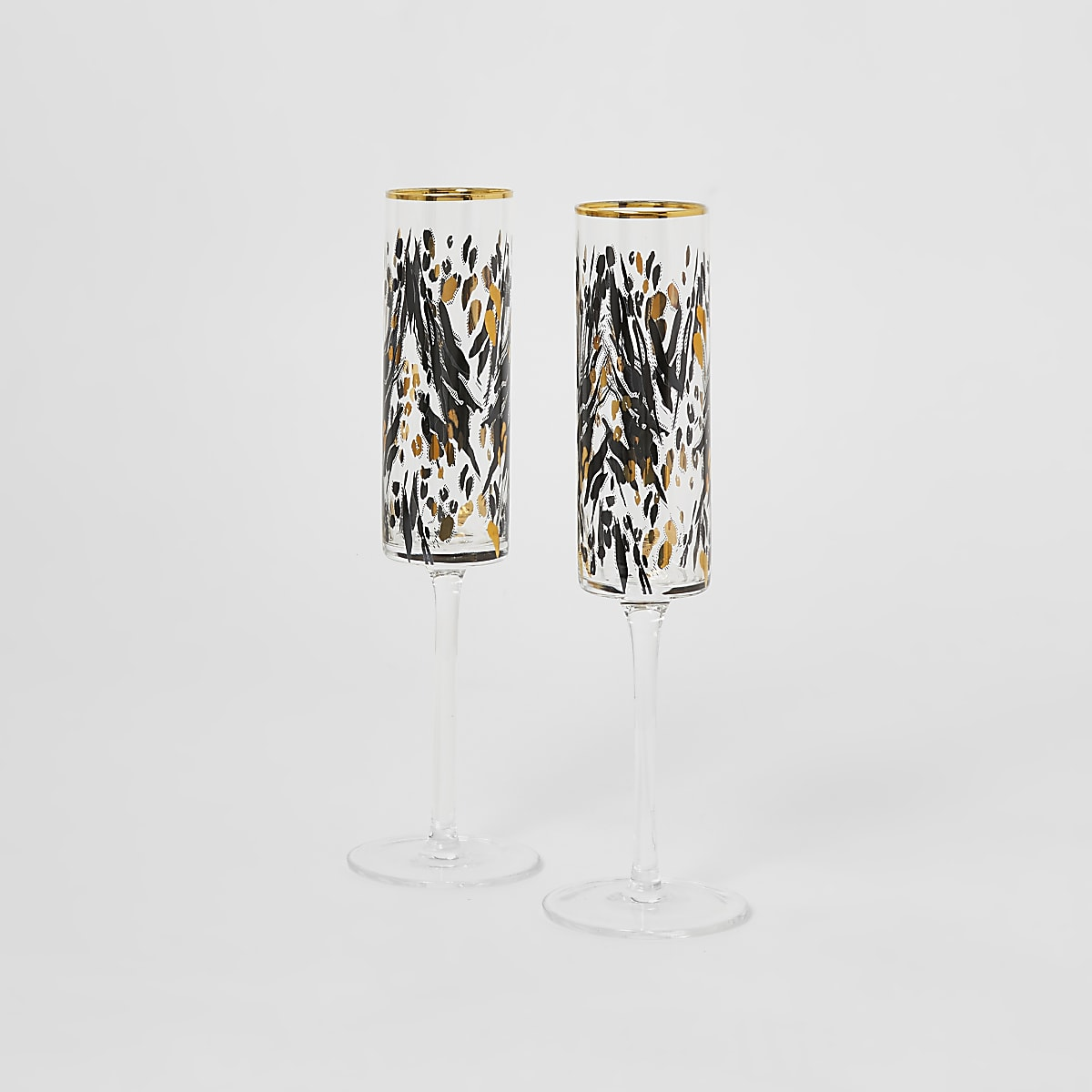 Gold leopard print prosecco flutes 2 pack
