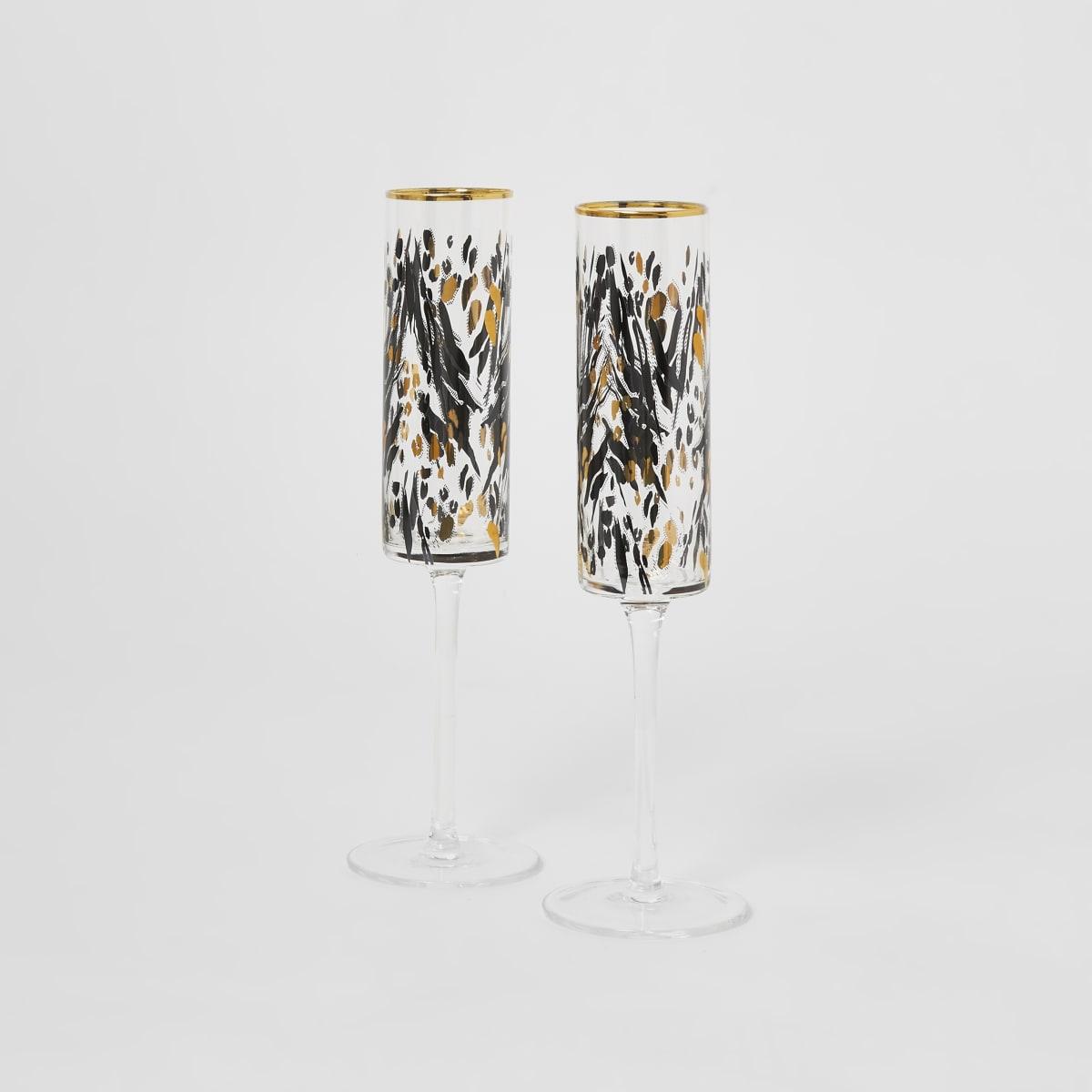 Set van 2 goudkleurige prosecco fluitglazen met luipaardprint