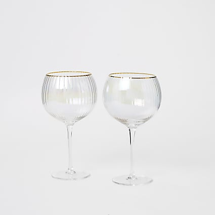 Iridescent pink gin balloon glasses 2 pack