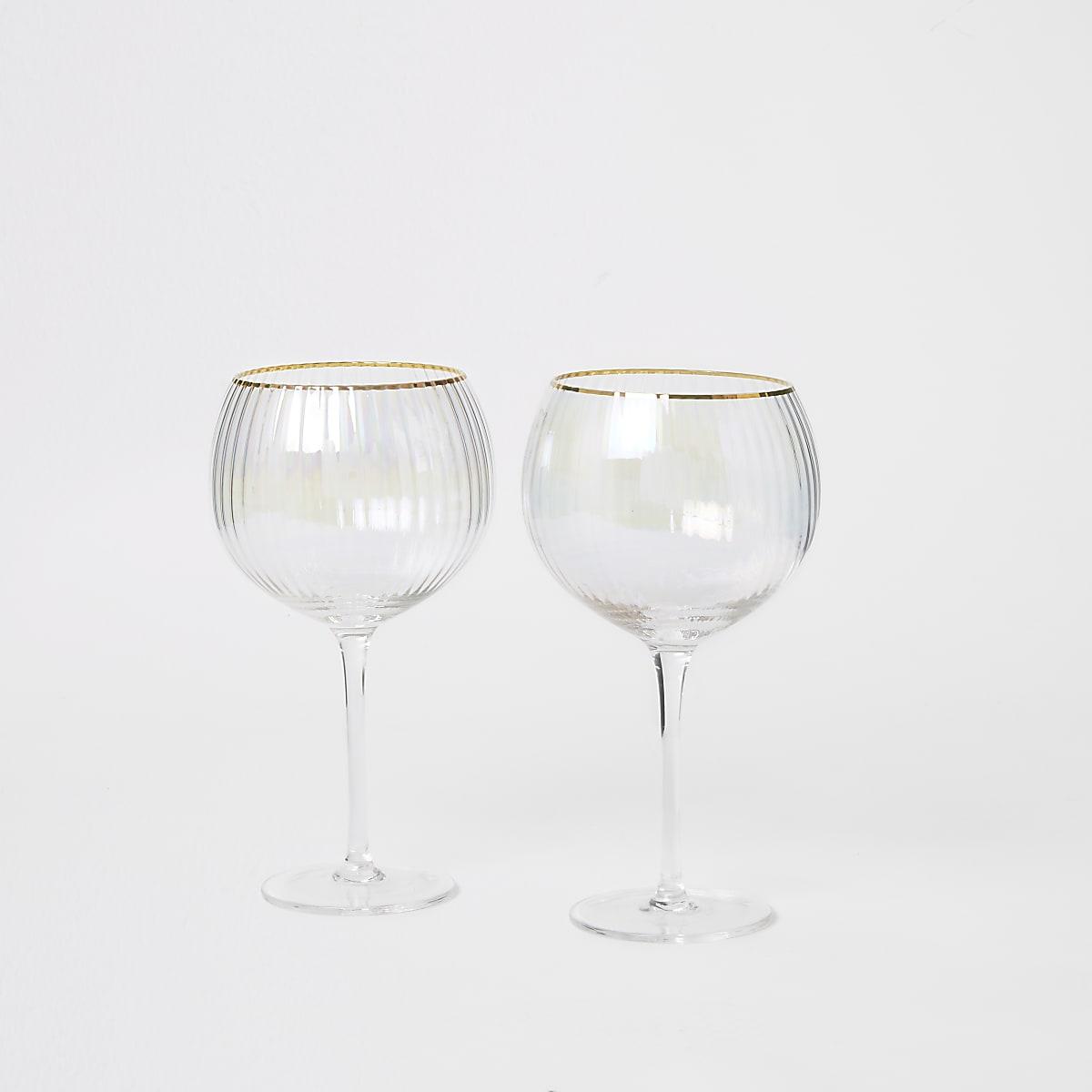 Roze gin balloon glazen set van 2 stuks