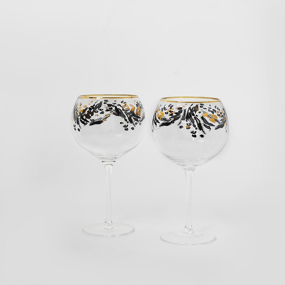 Set van 2 goudkleurige gin ballonglazen met luipaardprint