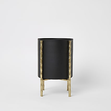 Black small bamboo planter