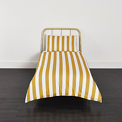 Yellow stripe print single duvet bed set