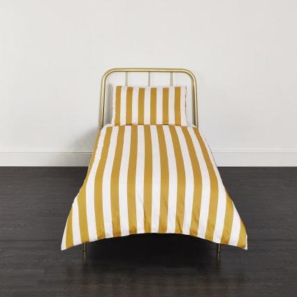 Yellow stripe print single duvet bed set