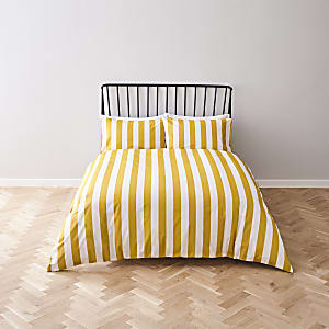 Yellow stripe print double duvet bed set