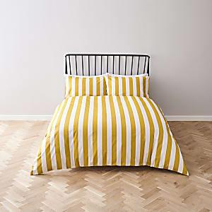 Parure de lit double rayée jaune