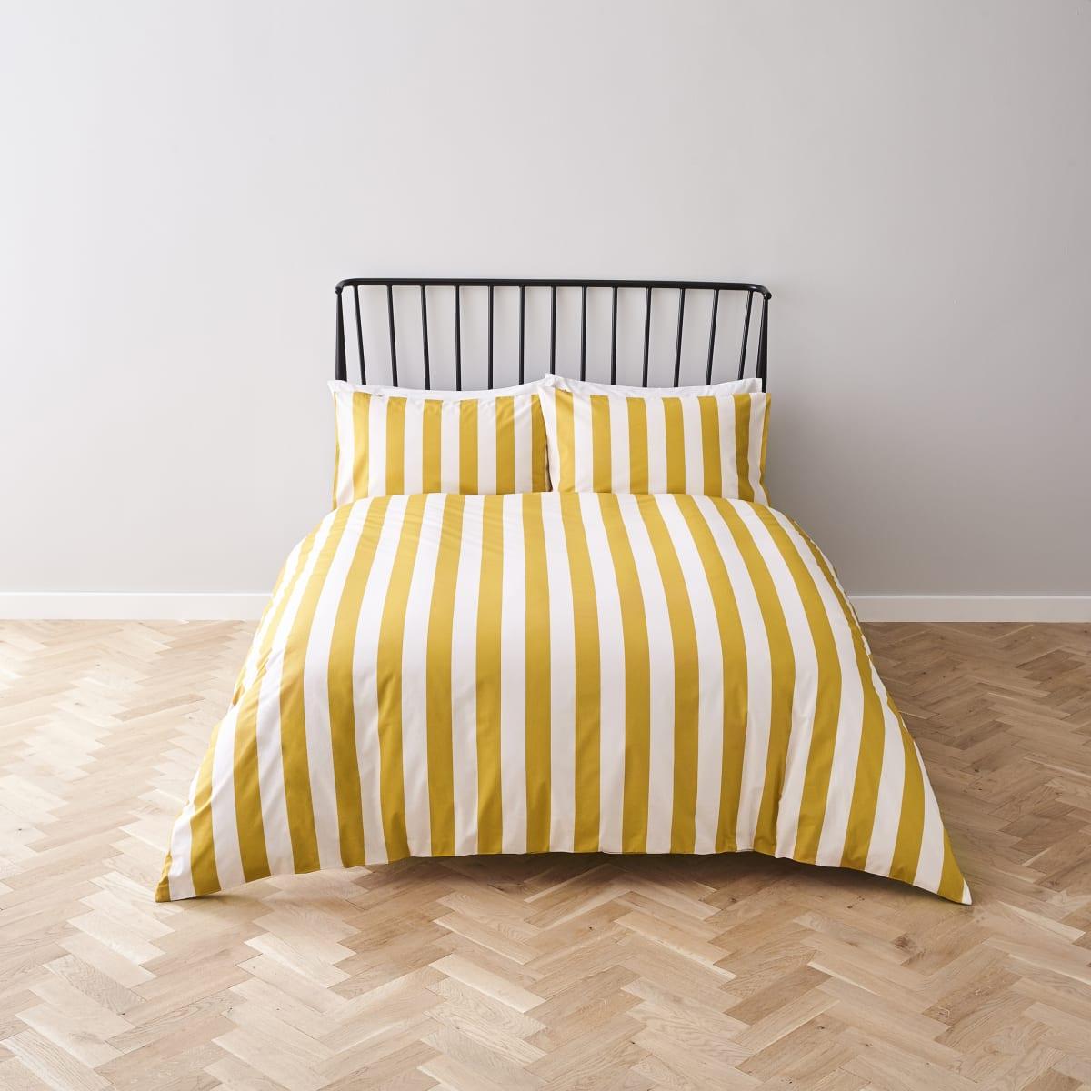 Yellow stripe stripe print king duvet bed set