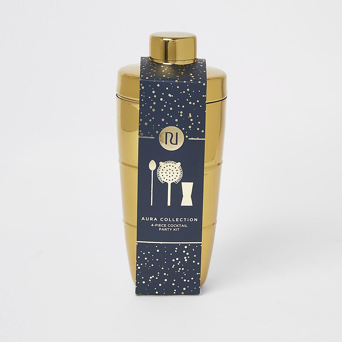 Gold tone RI cocktail shaker kit
