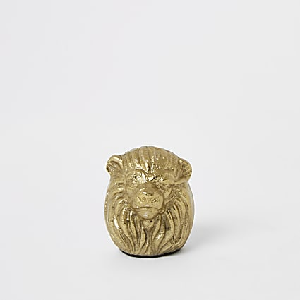 Gold tone lion head photo frame