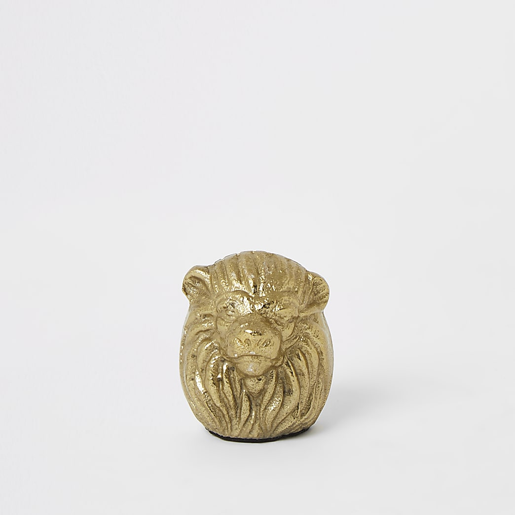 Gold tone lion head photo frame