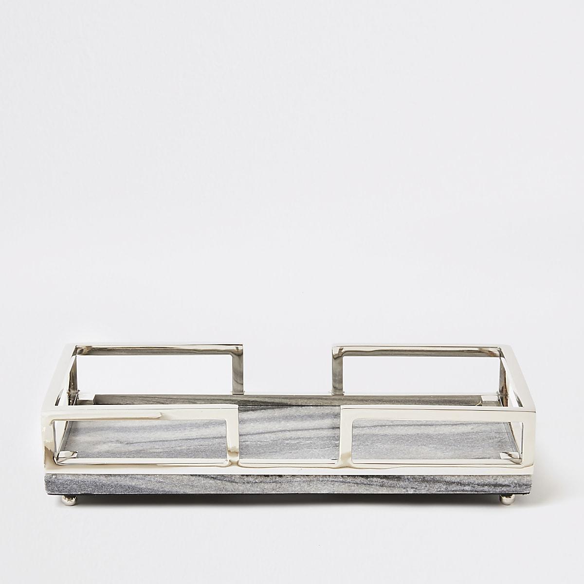 Grijs marmeren dienblad met goudmetalen handvatten