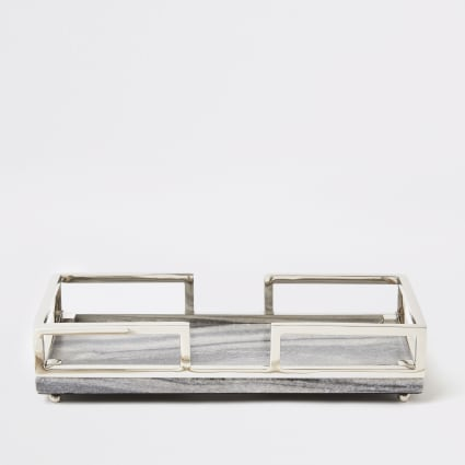 Grey marble tray with gold metal handles