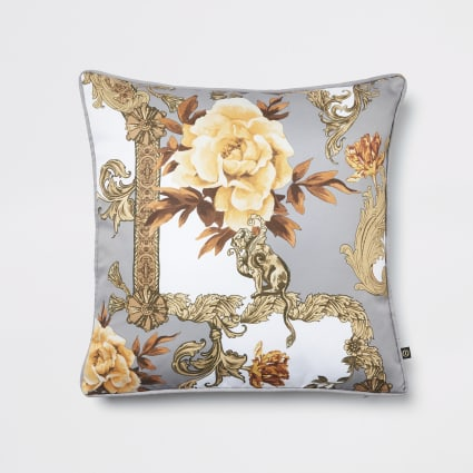 Grey floral baroque printed cushion