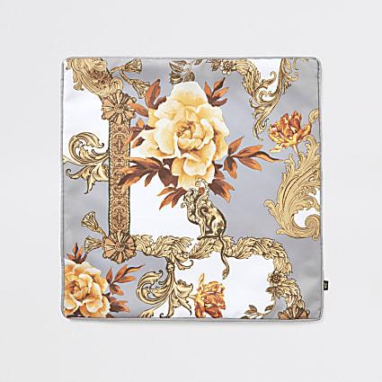 Grey baroque printed cushion cover