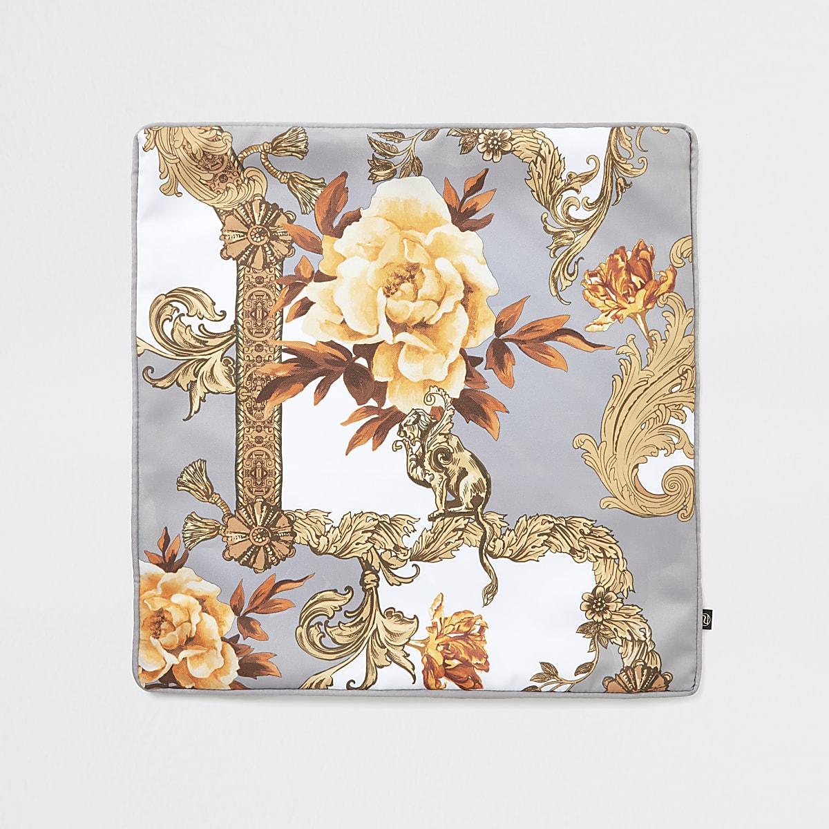 Grijs barokkussensloop met print