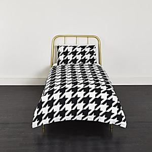 Parure pour lit simple motif pied-de-poule noir et blanc