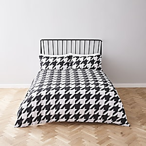 White houndstooth super king duvet bed set