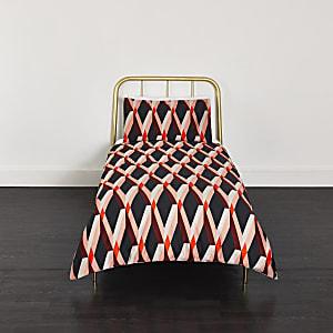Parure pour lit simple à imprimé géométrique losange rouge