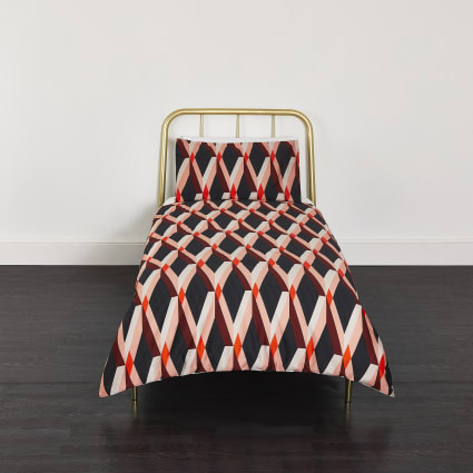 Red diamond geo print single duvet bed set