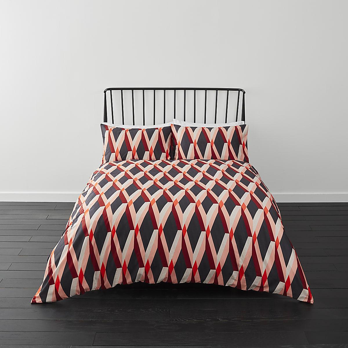 Blue diamond print double duvet bed set