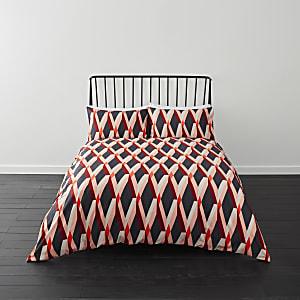 Parure de lit king rouge à imprimé losange