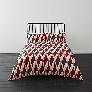 Red diamond print super king duvet bed set