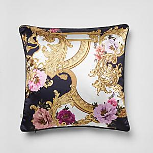 Marineblauwe barokkussensloop met bloemenprint