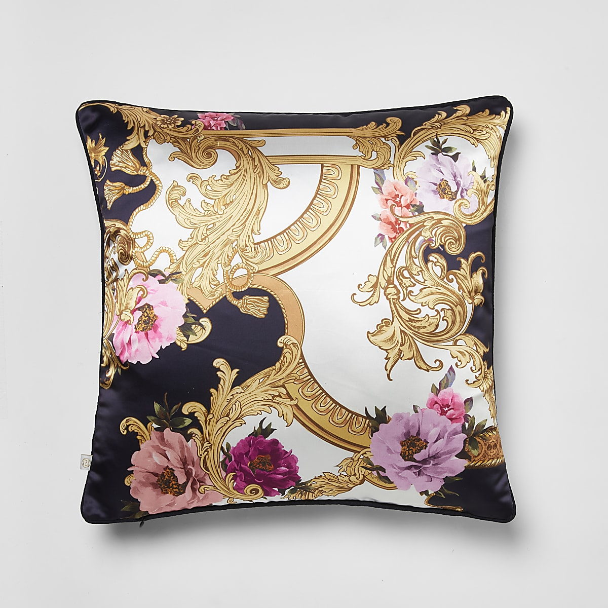 Navy floral baroque printed cushion cover