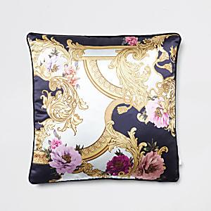 Marineblaues Kissen mit floralem Print im Barock-Stil