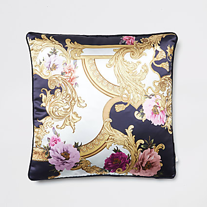 Navy floral baroque printed cushion