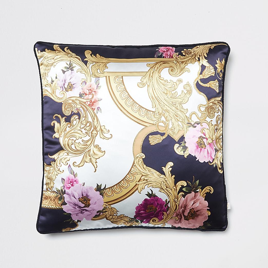 Coussin bleu marine imprimé fleuri style baroque